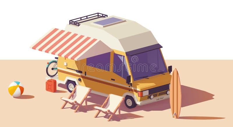 För RV-campare för vektor låg poly skåpbil vektor illustrationer