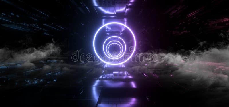 För rymdskepplilor för rök Shape för främmande för Sci Fi för neon futuristisk cirkel laser schematiskt moderkort Chip Detailed T royaltyfri illustrationer