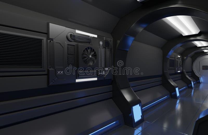för rymdskeppsvart för tolkning 3D futuristisk inre med tunnelen, korridor som är futuristisk, maskin royaltyfri bild