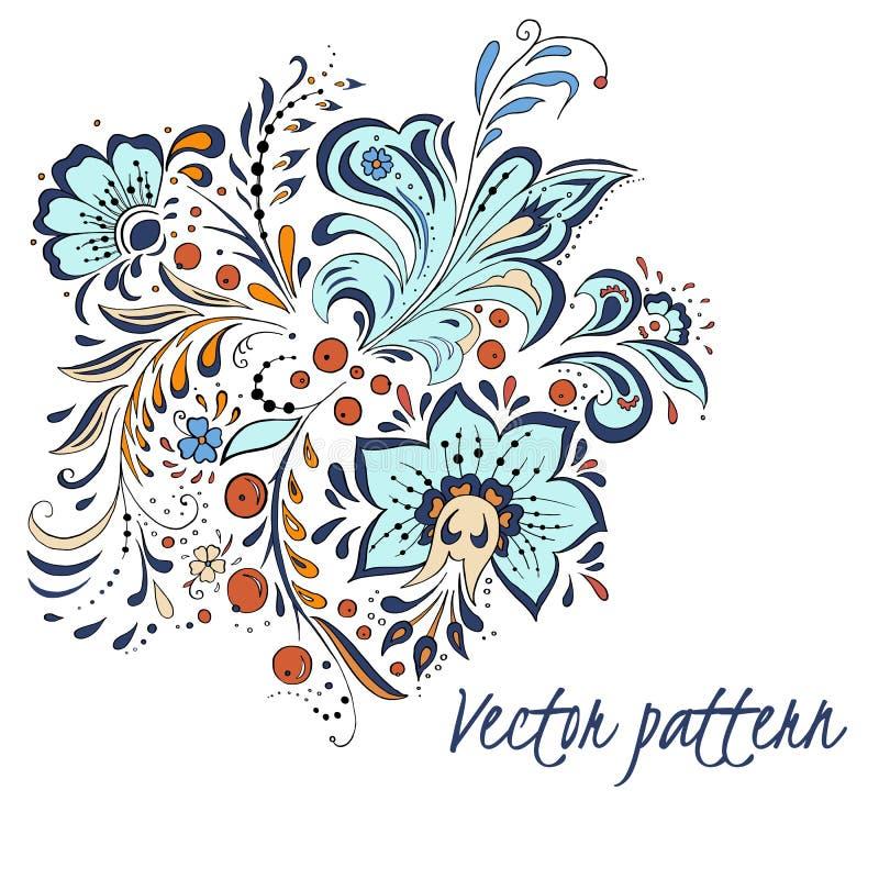 För ryssstil för vektor färgrik textur med abstrakt begreppblommor som isoleras på vit bakgrund stock illustrationer