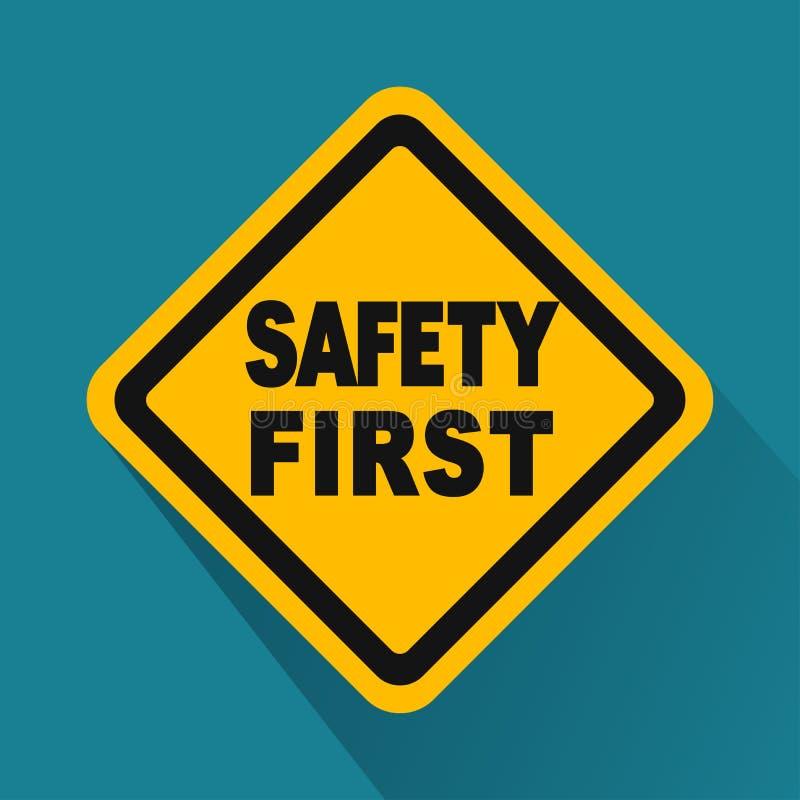 För säkerhet gult tecken först med skugga stock illustrationer