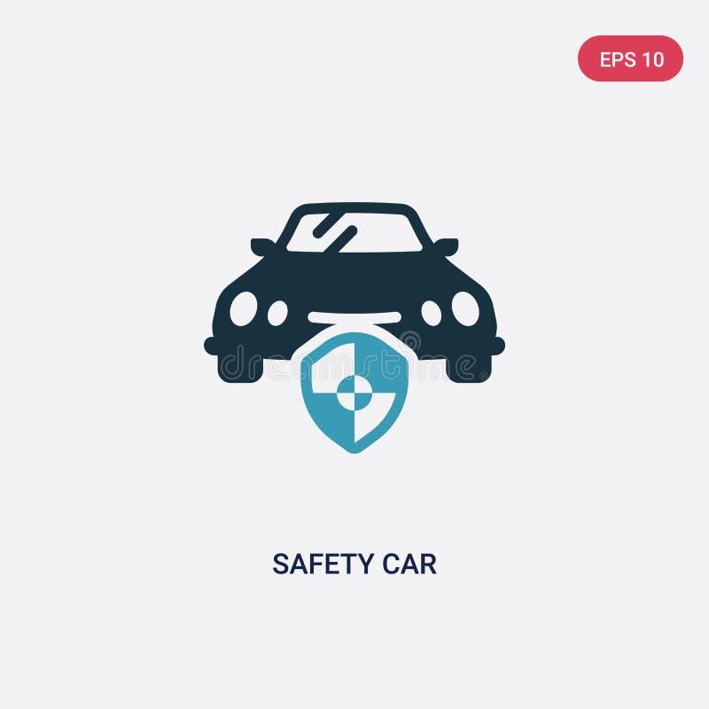 För säkerhetsbil för två färg symbol för vektor från säkerhetsbegrepp det isolerade blåa symbolet för tecknet för vektorn för säk royaltyfri illustrationer