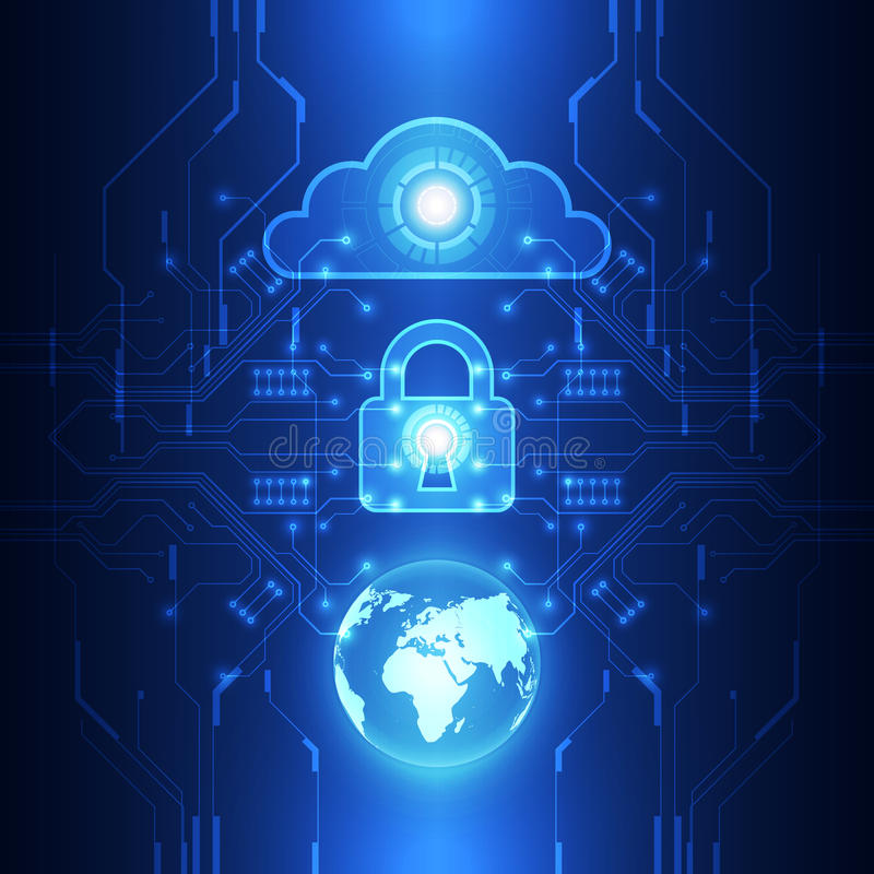 För säkerhetsmoln för vektor digitalt globalt begrepp för teknologi, abstrakt bakgrund stock illustrationer