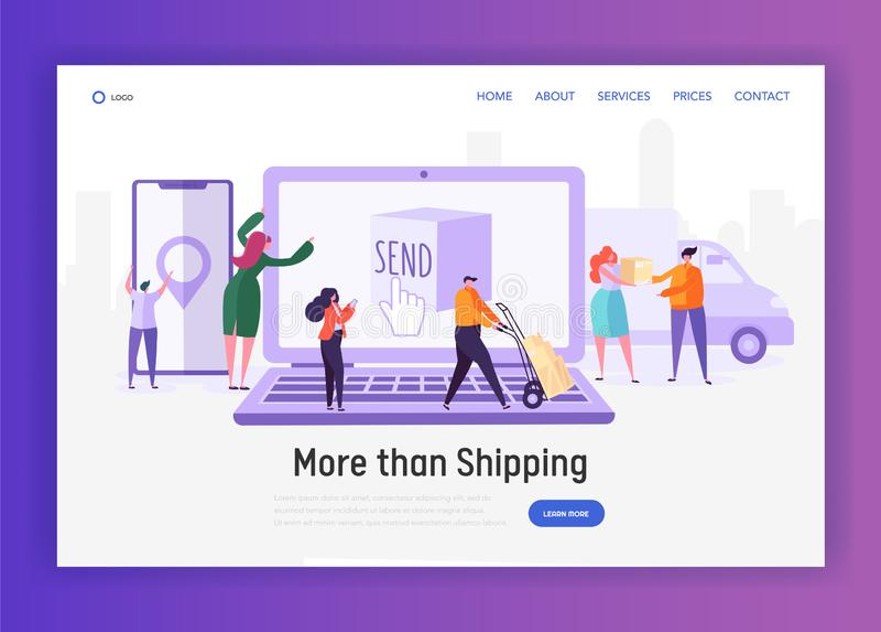 För sändningsservice för online-shopping snabb världsomspännande sida för landning för begrepp Folktecken att överföra och motta  stock illustrationer