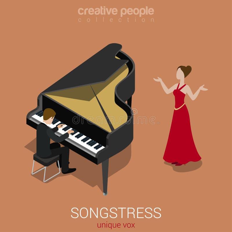 För sångare ackompanjemang för piano för kvinnlig sångare solo stock illustrationer