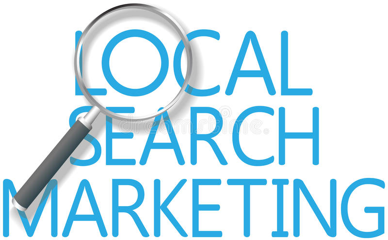 För sökandemarknadsföring för fynd lokalt hjälpmedel vektor illustrationer