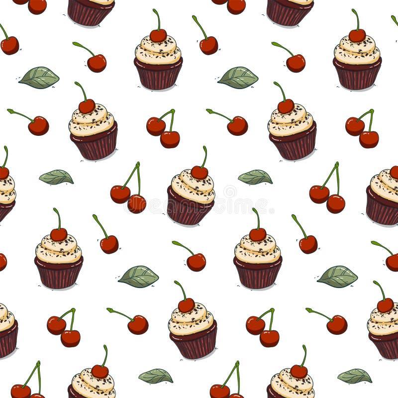 För sömlös utdragen körsbärsröd muffin modellhand för vektor stock illustrationer