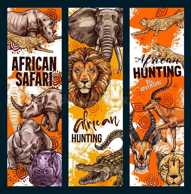 För safarijakt för vektor afrikanska baner för djur royaltyfri illustrationer