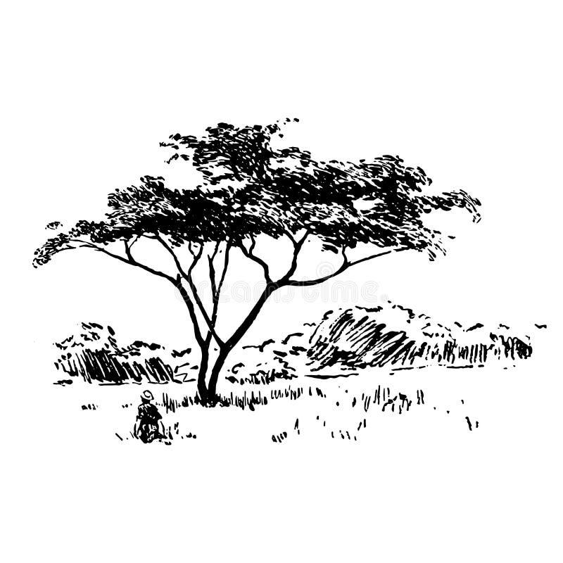 För safarinatur för hand utdragen afrikansk svart för landskap på vit bakgrund stock illustrationer