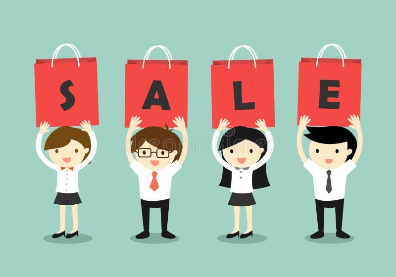 För SALE för ` för affärsfolk hållande bokstäver ` på de röda påsarna med grön bakgrund royaltyfri illustrationer