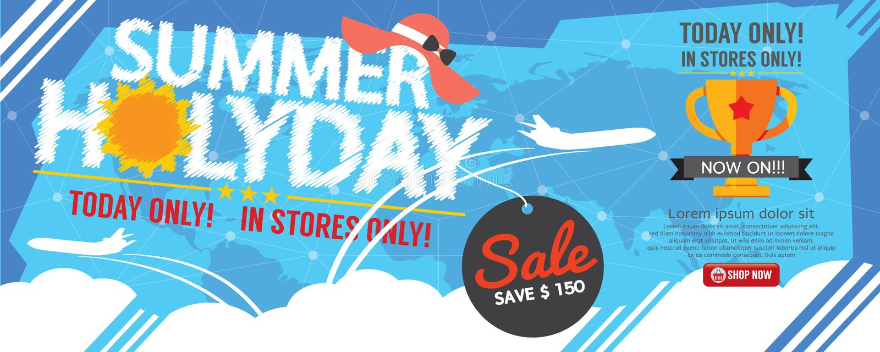 För Sale för sommarferie PIXEL baner 1500x600 vektor illustrationer