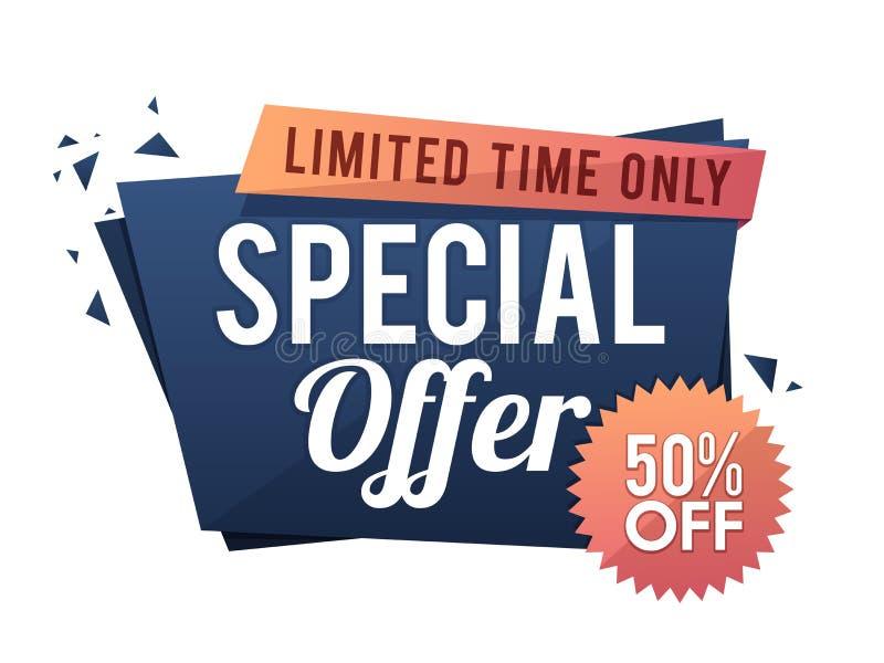 För Sale för specialt erbjudande design för etikett eller för baner papper vektor illustrationer