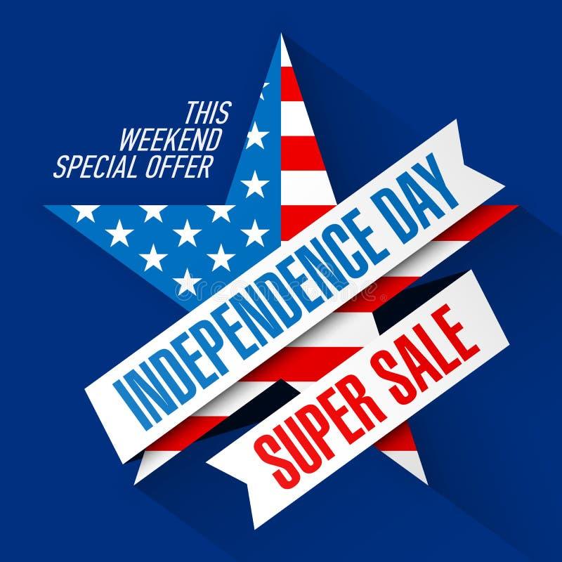 För Sale för USA självständighetsdagenhelg mall för design baner royaltyfri illustrationer