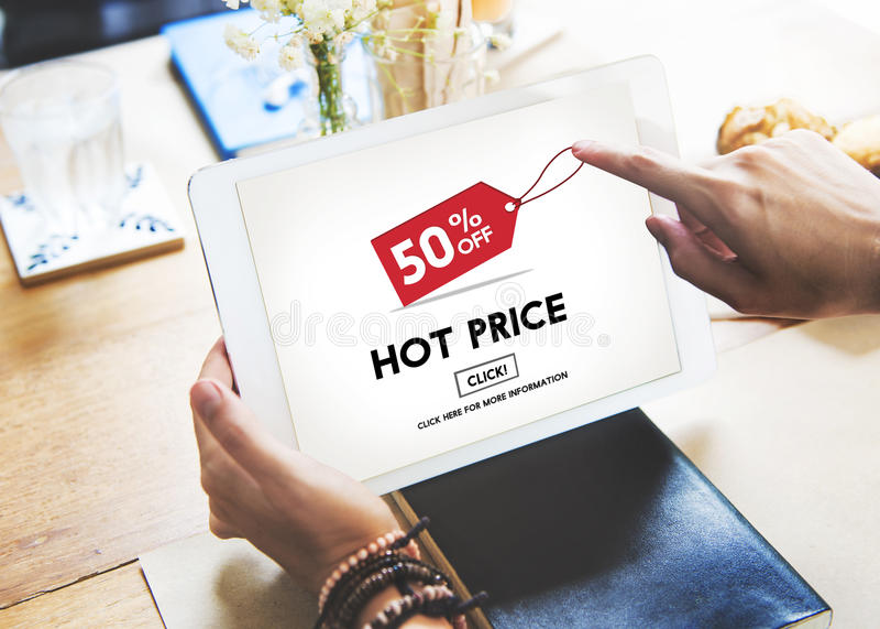 För Sale för varmt pris stort begrepp för detaljhandel för annonsering avdrag royaltyfri bild