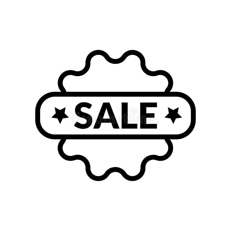 För Sale för försäljningssvart linjär symbol för symbol för illustration vektor vektor illustrationer
