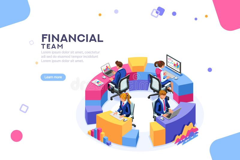 För samarbetsWebsite för finansiell ledning baner för mall vektor illustrationer