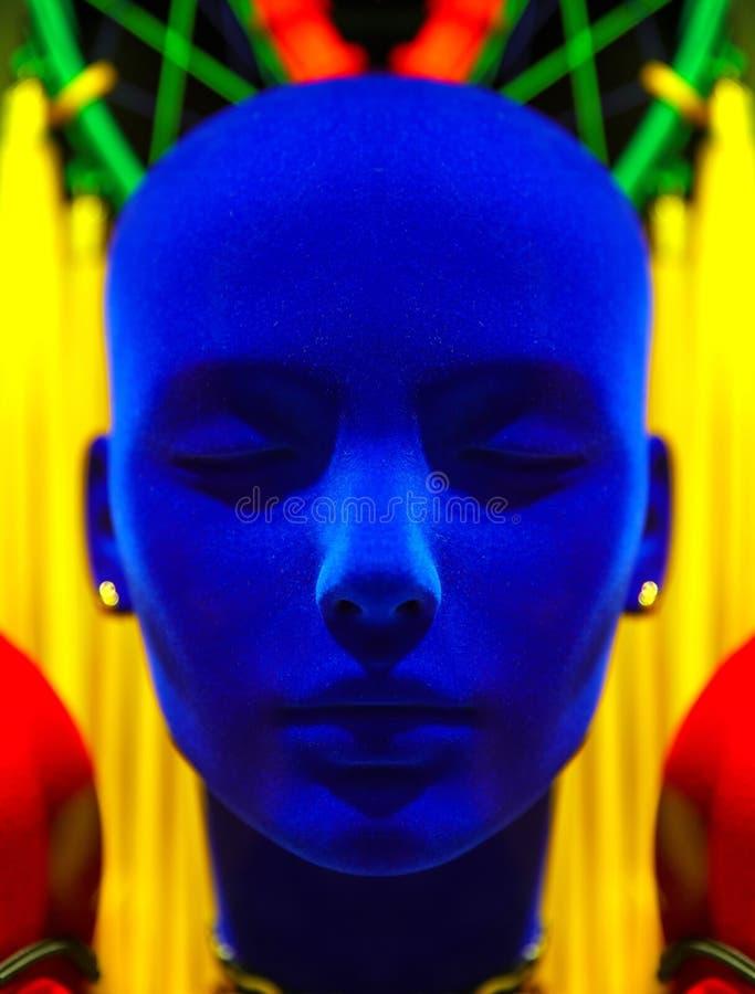 För sammetskyltdocka för polystyren blå skärm för huvud fotografering för bildbyråer