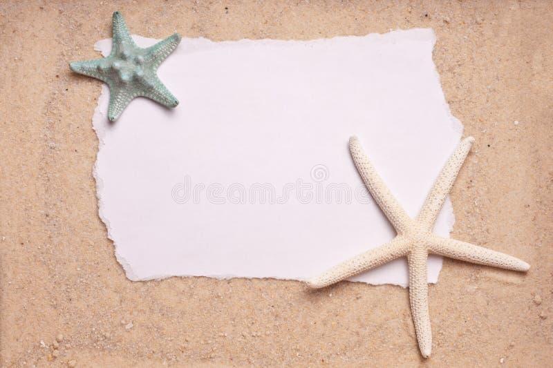 för sandtecken för bakgrund blank sjöstjärna två royaltyfri bild