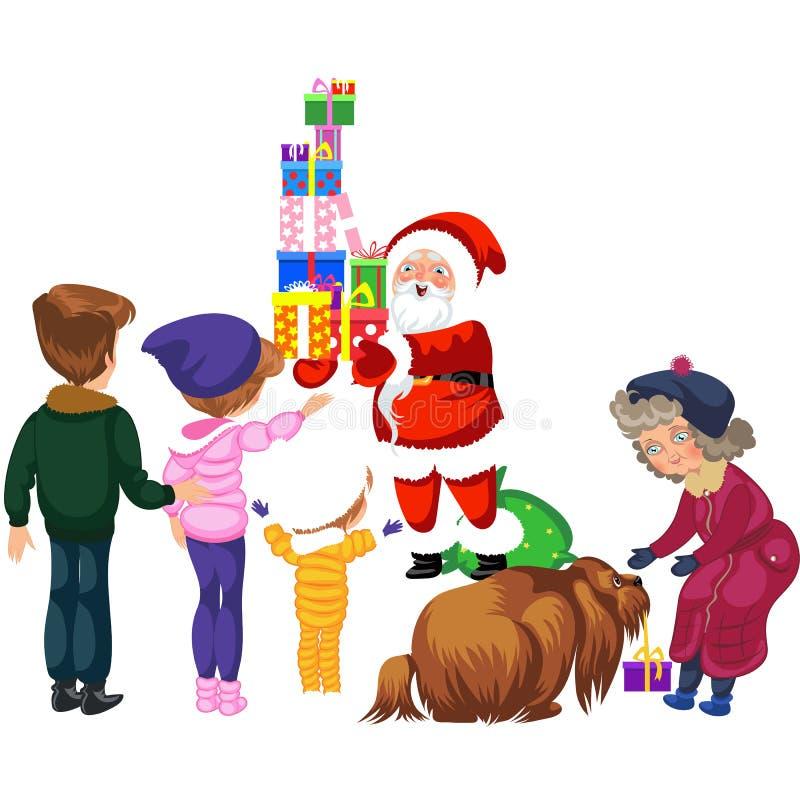 För Santa Claus för tecknad film gladlynta askar gåvor med gåvor stock illustrationer