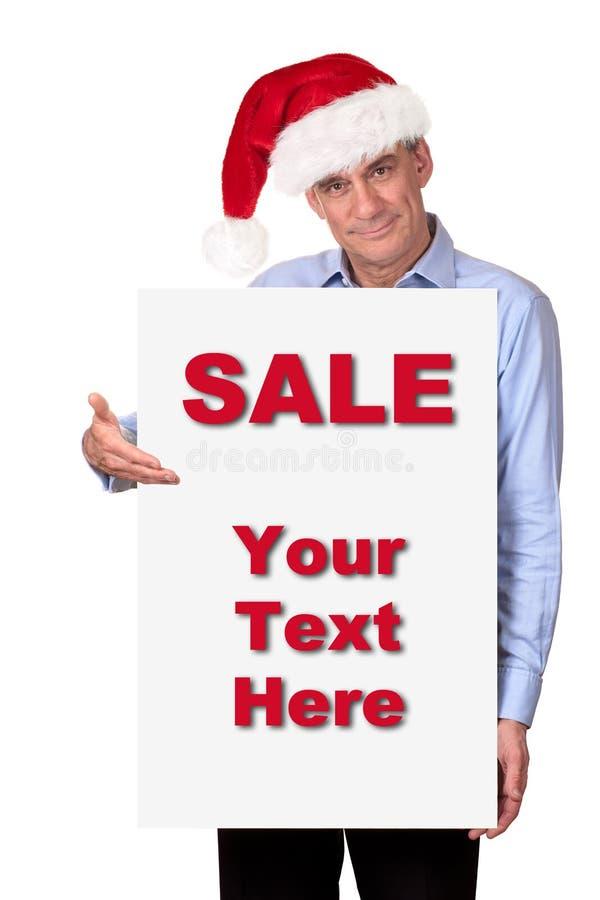 för santa för hattholdingman white tecken arkivfoton