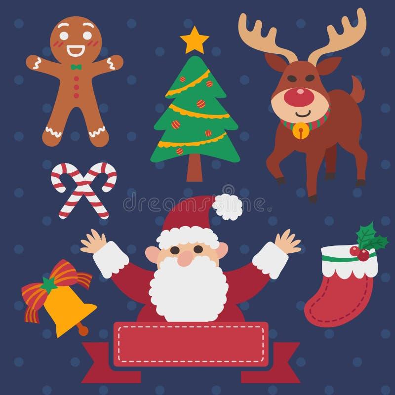 för santa för presents för bilder för askjulclaus älva tree för tema för snowman set sleigh stock illustrationer