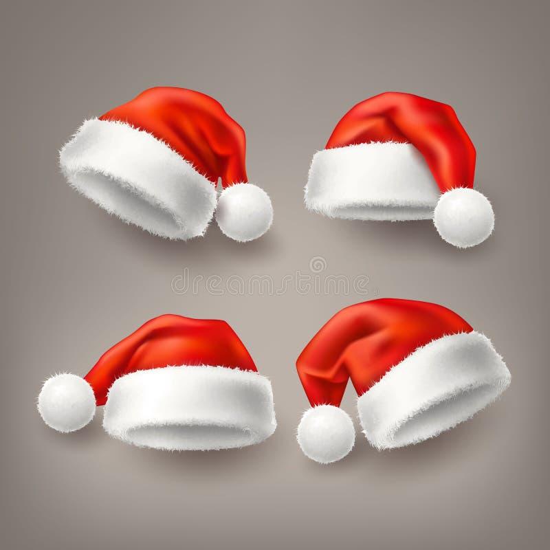 För santa för vektor realistisk uppsättning för hatt för ferie jul stock illustrationer