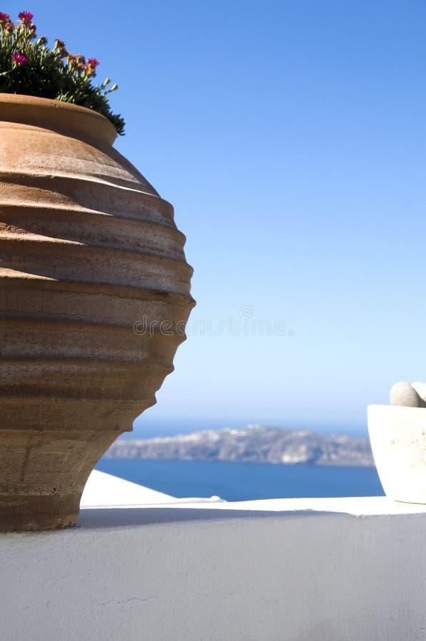för santorinihav för imerovigli oerhörd sikt fotografering för bildbyråer