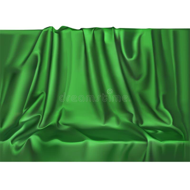 För satängtextil för vektor lyxig realistisk grön siden- bakgrund Skinande slätt material för elegant tyg med vågor royaltyfri illustrationer
