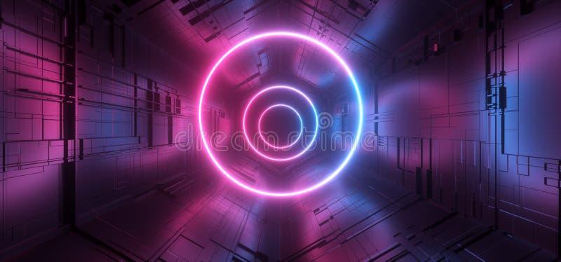 För Sci Fi för cirkel för laser för neon glödande blå purpurfärgad matris Chip Reflective Gate Portal för moderkort för schema fu royaltyfri illustrationer