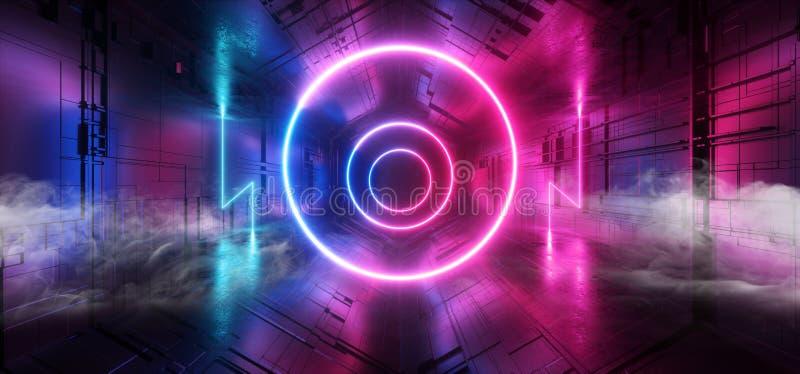 För Sci Fi för cirkel för lilor för laser för rökneon glödande blå matris Chip Reflective Gate Portal för moderkort för schema fu vektor illustrationer