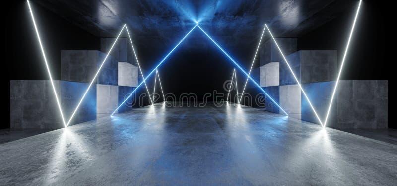För Sci Fi för diagram för neonljus glödande blått vitt vibrerande faktiskt rymdskepp för podium för garage för konstruktion för  vektor illustrationer