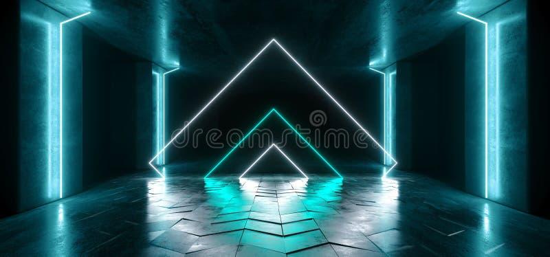 För Sci Fi för diagram för triangel för neonljus glödande blått vibrerande faktiskt podium för garage för konstruktion för etapp  royaltyfri illustrationer