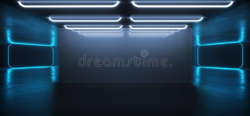 För Sci Fi för fluorescerande vibrerande neon futuristiskt rum Hall Studio för golv för Grunge för purpurfärgad blå virtuell verk stock illustrationer