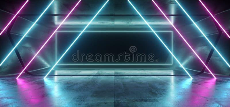 För Sci Fi för kaotiskt neon glödande korridor för hall för tunnel för garage för blå vibrerande mörk ram för rektangel för lilor stock illustrationer