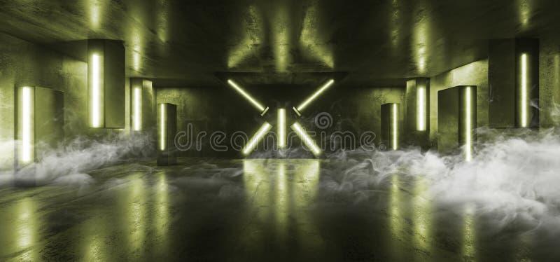 För Sci Fi för ljus för neon för röketappklubban formade den futuristiska kolonnen gräsplan den glödande vibrerande tomma korrido royaltyfri illustrationer