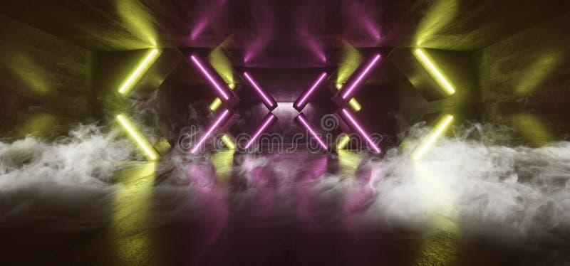 För Sci Fi för ljus för neon för röketappklubban formade den futuristiska kolonnen för gräsplan lilor den glödande vibrerande tom vektor illustrationer