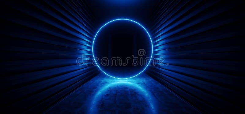 För Sci Fi för neon för framtida laser-cirkel glödande ingång för hall för vibrerande futuristisk korridor virtuell verklighet fö vektor illustrationer
