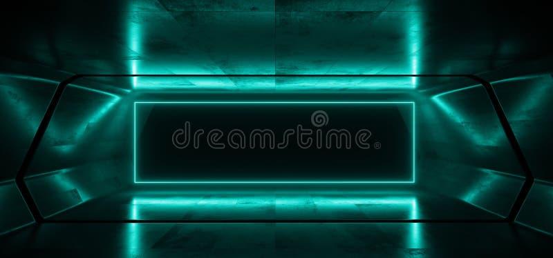 För Sci Fi för neon glödande bakgrund faktisk 3D för korridor för hall för tunnel för garage för blå vibrerande mörk ram för rekt royaltyfri illustrationer