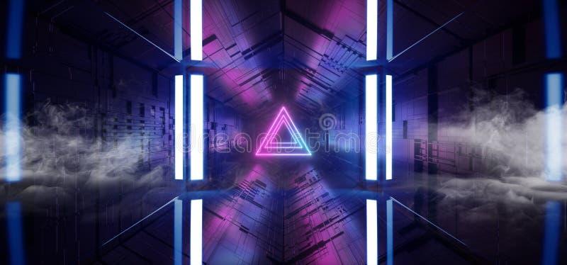 För Sci Fi för triangel för lilor för laser för rökpilneon glödande blå matris Chip Reflective för moderkort för schema futuristi royaltyfri illustrationer