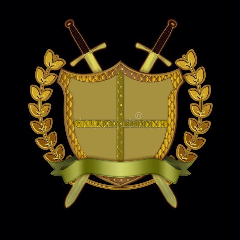 för scrollsköld för filial olive svärd stock illustrationer