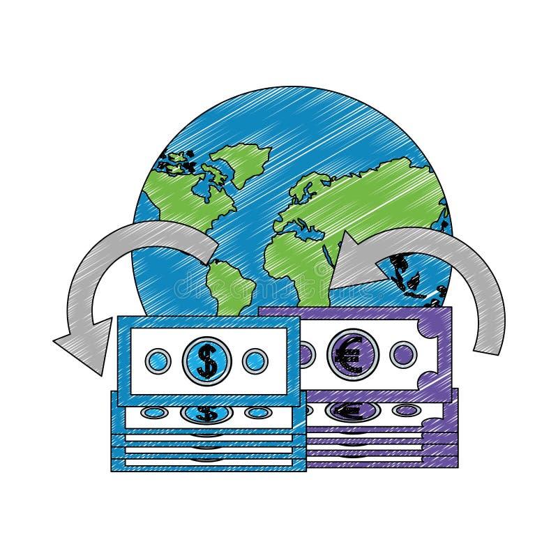 För sedeldollar för värld internationell handel för euro vektor illustrationer