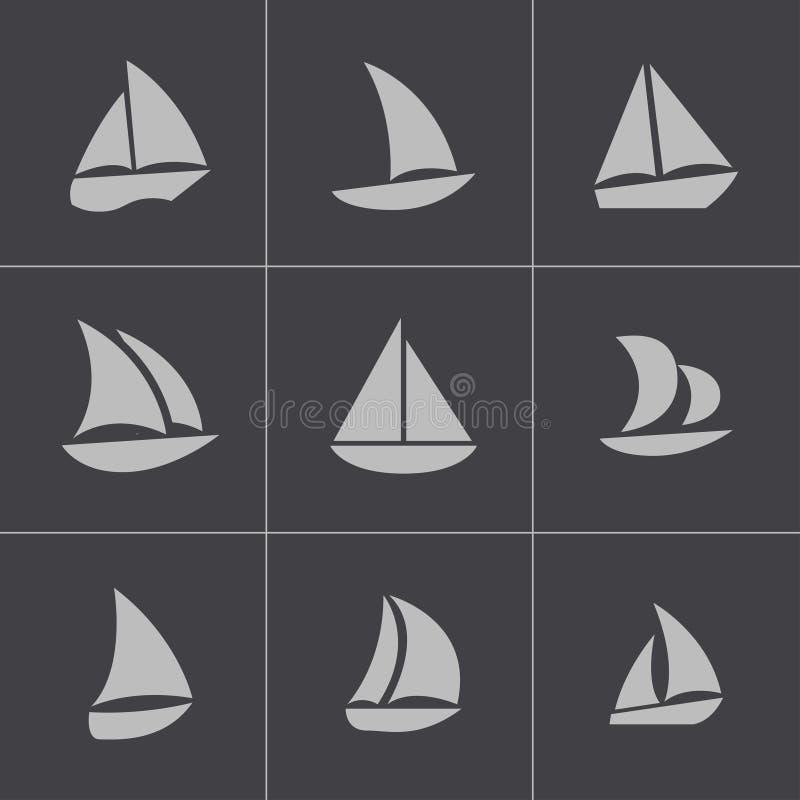 För segelbåtsymboler för vektor svart uppsättning vektor illustrationer