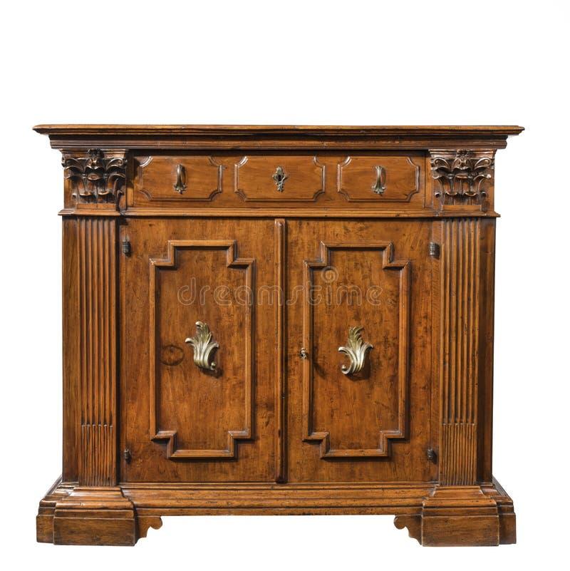 För serveringsbordbuffé för gammal original- tappning träsnidit kabinett arkivbild