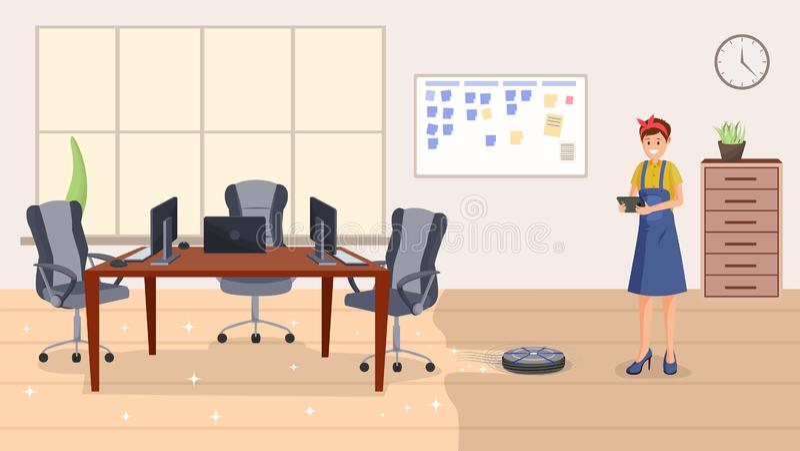 För servicelägenhet för kontor rengörande illustration för vektor royaltyfri illustrationer