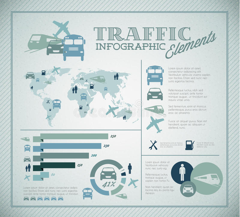 för settrafik för stora element infographic vektor royaltyfri illustrationer