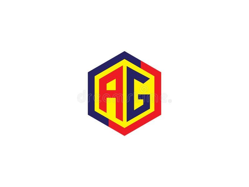 För sexhörningsdesign för initial bokstav AG Logo Vector Graphic Branding Letter beståndsdel vektor illustrationer