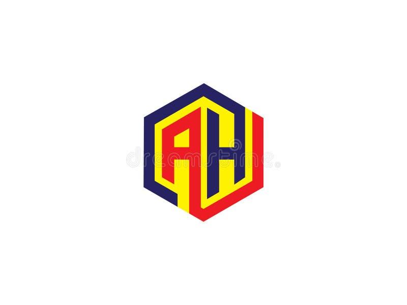 För sexhörningsdesign för initial bokstav AH Logo Vector Graphic Branding Letter beståndsdel vektor illustrationer