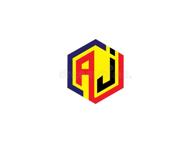 För sexhörningsdesign för initial bokstav AJ Logo Vector Graphic Branding Letter beståndsdel vektor illustrationer