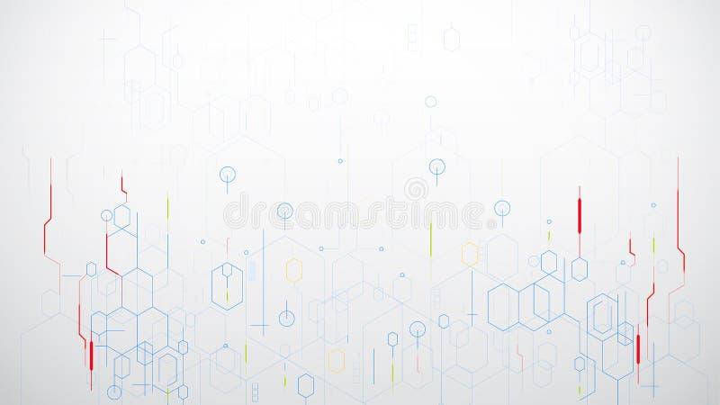 För sexhörningsteknologi för abstrakt vetenskap vektor på vit bakgrund royaltyfri illustrationer