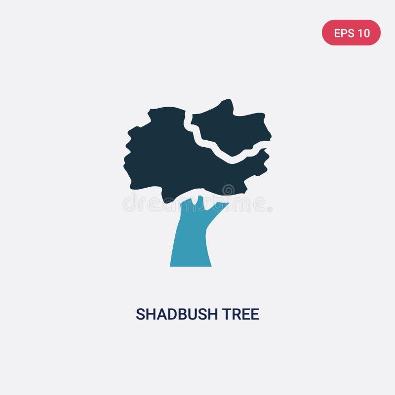 För shadbushträd för två färg symbol för vektor från naturbegrepp det isolerade blåa symbolet för tecknet för shadbushträdvektorn royaltyfri illustrationer